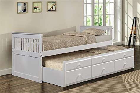 White Bed With Trundle by Merax Captain S Platform Storage Bed With
