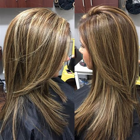 medium hairstyles with partial highlights partial foil highlights and lowlights and finished off