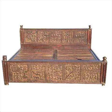 Handcrafted Wooden Beds - handcrafted wooden bed in jodhpur rajasthan india