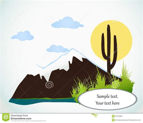 Cactus Saguaro And Mountains. Vector Card Royalty Free Stock Photo   Image: 33123365