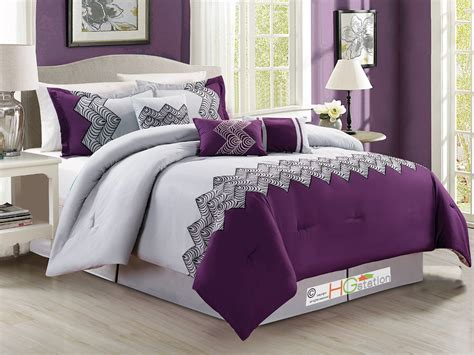 Queen Duvet Size 7p Zigzag Chevron Curved Embroidery Comforter Set Purple