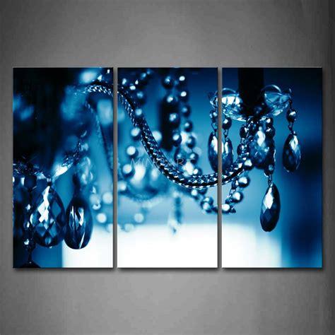 3 Piece Wall Art Painting Chandelier Blue Dark Picture Chandelier Wall Decor