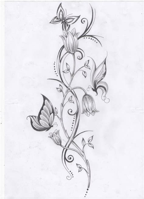 tattoo designs of flowers on vines flower vine and butterflies by ashtonbkeje on deviantart
