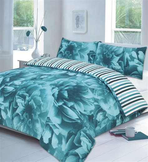 teal bedding set rose floral lilac or teal or red duvet cover p case