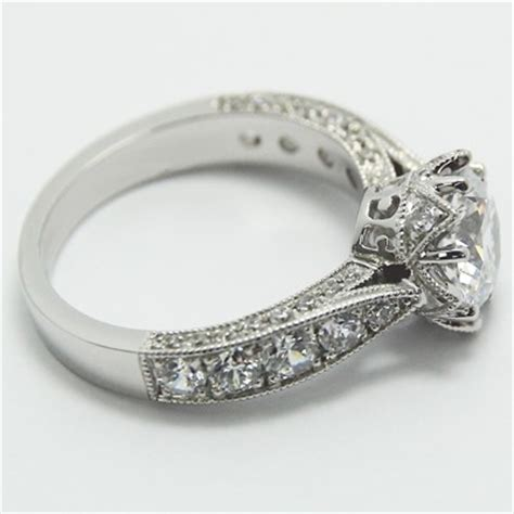 14k white gold vintage style engagement ring