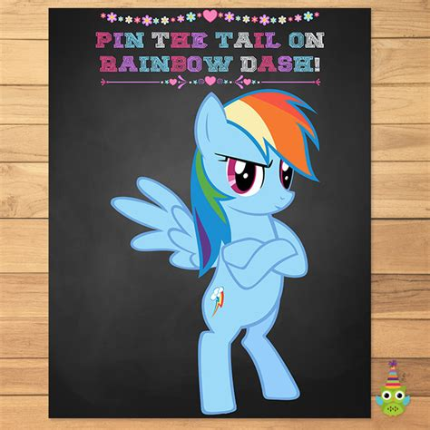 printable version of pin the tail on the donkey my little pony pin the tail on rainbow partyprintables37