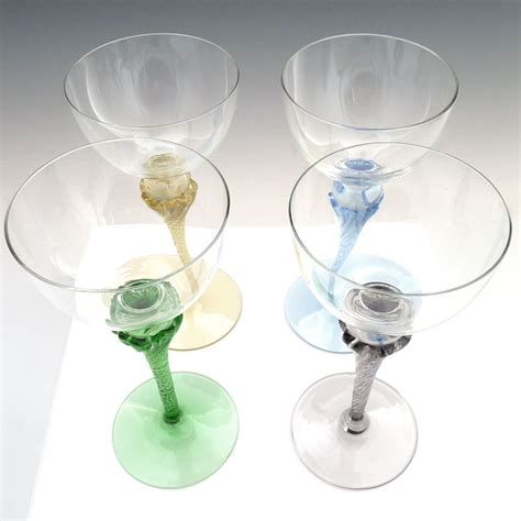 vintage chagne glasses vintage colored stem wine glasses blown from