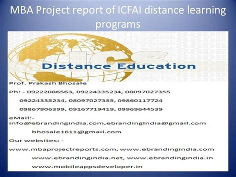 Mba Distance Programs by Mba Project Report Of Icfai Distance Learning Programs
