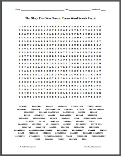 Search Greece Ancient Greece Vocabulary Terms Word Search Puzzle Student Handouts