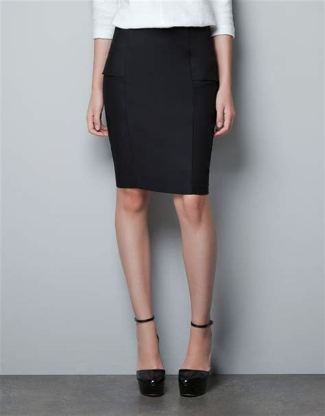 zara pencil skirt with hip in black lyst