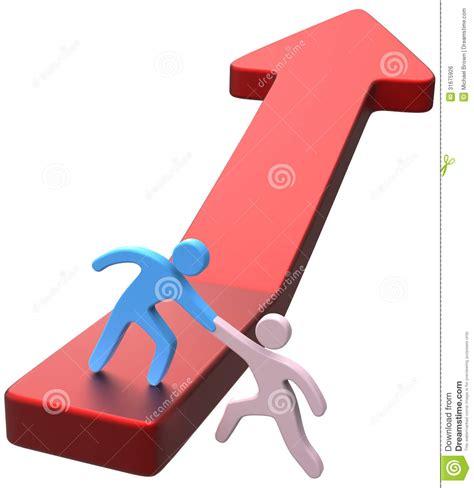 figuras de progresar flecha del progreso del amigo de la mano de la ayuda stock
