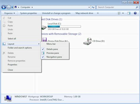 windows 7 layout menu bar display the menu bar in windows 7 explorer compunoodle com