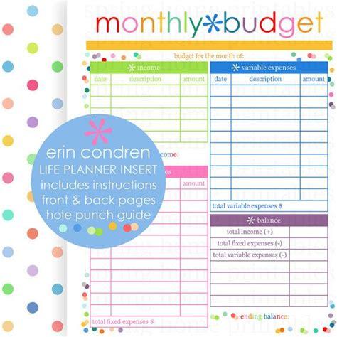 printable erin condren life planner monthly budget erin condren life planner erin condren