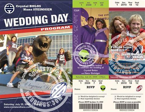 Sports Theme Wedding Invitations by Custom Sports Themed Wedding Invitation Tickets