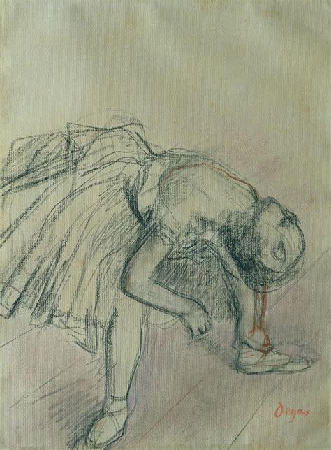 Ballerina Duvet Dancer Fixing Her Slipper Drawing By Edgar Degas
