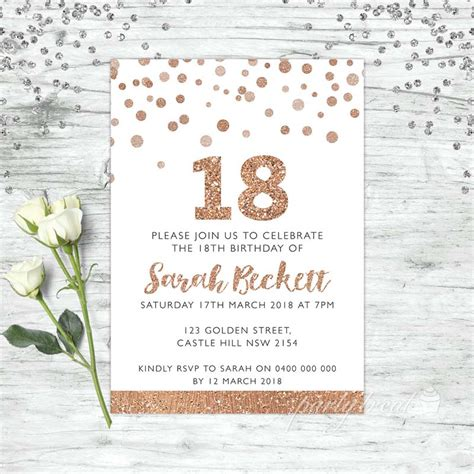 18th Birthday Invitations Rose Gold Party Personalised Party Supplies Invite 18th Birthday Invitation Templates