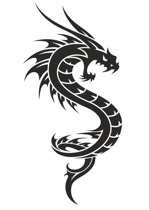 black  white dragon tattoo vector  vector cdr