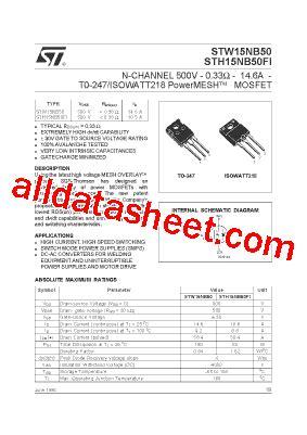 transistor w15nb50 w15nb50 datasheet pdf stmicroelectronics