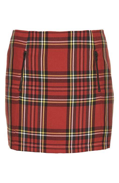 tartain plaid topshop tartan plaid skirt in red lyst