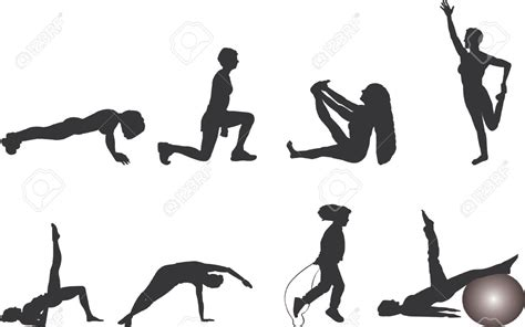 fitness clipart silhouette clipart exercise pencil and in color