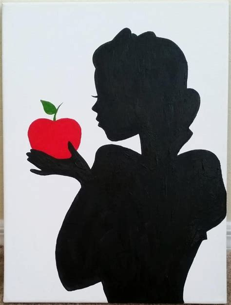 white silhouette items similar to snow white silhouette painting on etsy
