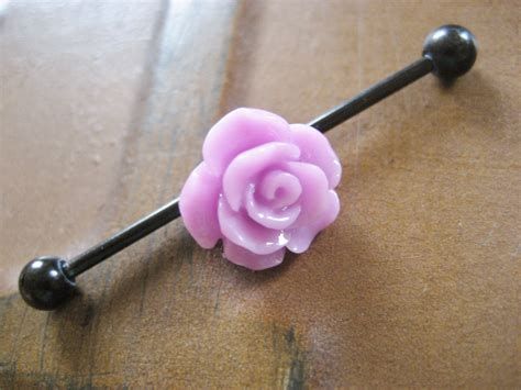 industrial barbell piercing bar earring jewelry lavender