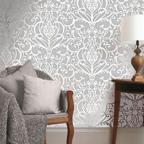 wallpaper wall art uk exclusive holden statement floral damask pattern metallic