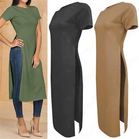 I Tunic new womens crepe midi tunic side high split slit tops