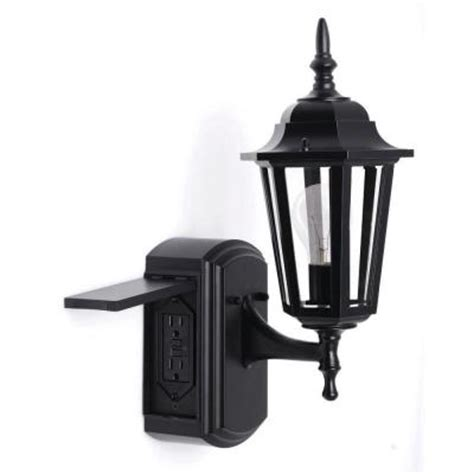 outdoor light with gfci outlet hton bay coach style reversible outdoor matt black wall