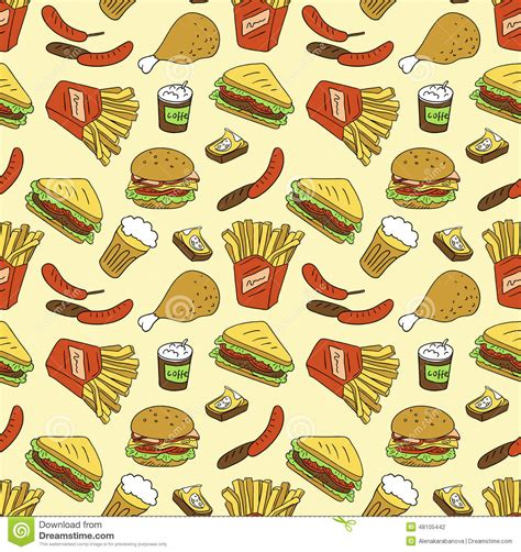 pattern food texture seamless texture with fast food stock vector image