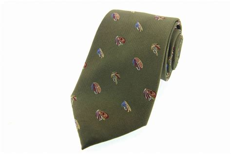 fly fishing green woven silk country tie