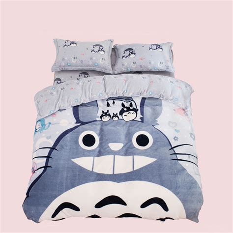 totoro bed sheets cute cartoon coral fleece totoro students bed sheet set