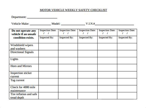 weekly vehicle inspection checklist template sle weekly checklist template 10 free documents in