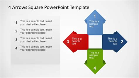 4 Arrows Square Powerpoint Template Slidemodel Arrows Powerpoint Templates