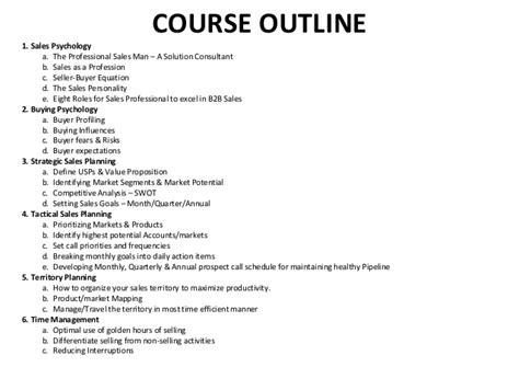 sles of outlines for essays trainer sle sales course outline