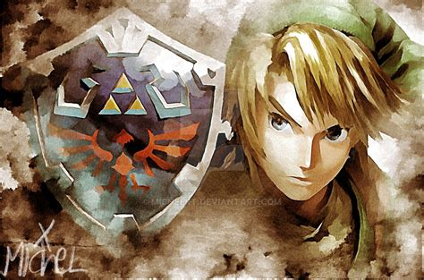 link and hylian shield the legend of by michelrt on deviantart