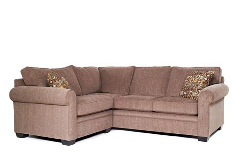 Apartment Sectional Sofa Soft Beige Microsuede Small Sectional Sofa With Rolled Arms And Patterned Cushion For