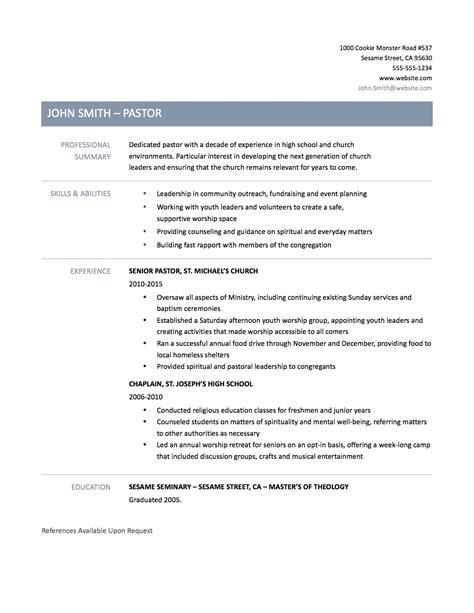 Sample Pastoral Resume   uxhandy.com