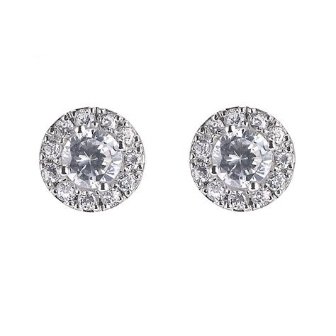 9ct white gold cubic zirconia vintage stud earrings