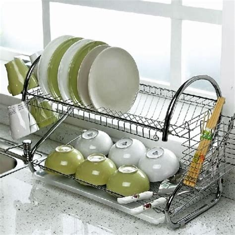 deluxe 2 tier stainless steel dish drainer cup dish rack