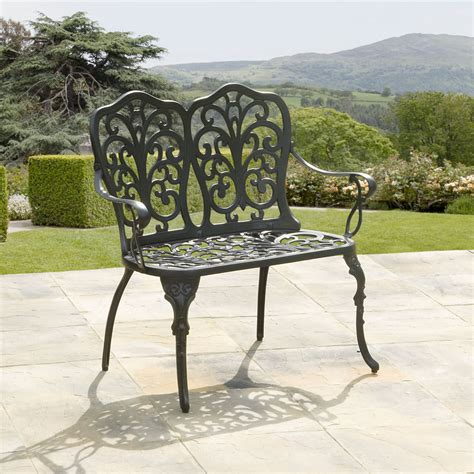 black garden bench uk huge selection of metal two seat garden benches for sale