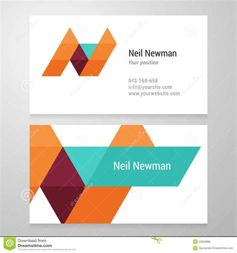 Memo Template Vector modern letter n business card template stock vector