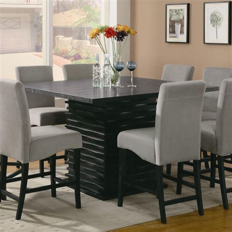 Black Counter Height Dining Table Stanton Counter Height Dining Table In Black With Modern Unique Base Coaster 102068