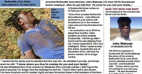 white genocide in south africa here are the names farmattack black farm killer released from prison