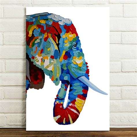 paintings home decor hd canvas prints painted abstract color elephant wall