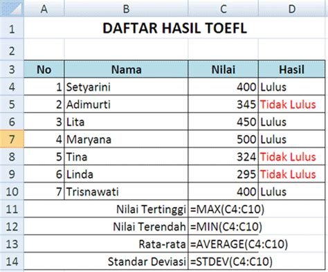 Contoh Microsoft Excel modul 3 ms excel fungsi statistik fairuz el said