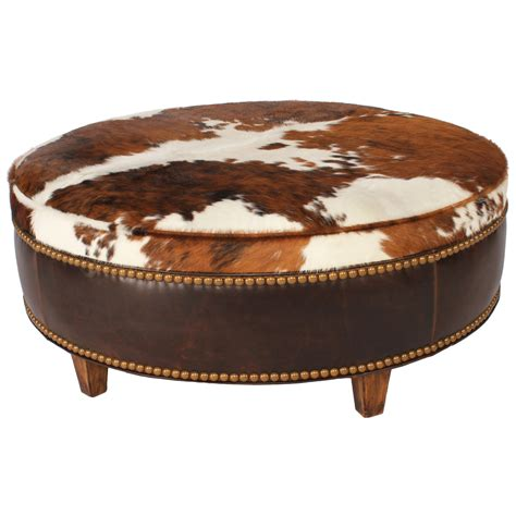 cowhide ottoman round ranch collection round tricolor cowhide ottoman 36 inch