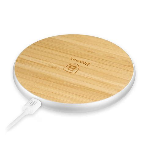 Baseus Flare Series Wireless Charger Pad Silver Wood baseus flare series wireless charger pad for phones with qi charging