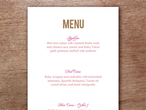 free printable menu cards templates menu card template to and print just enter your