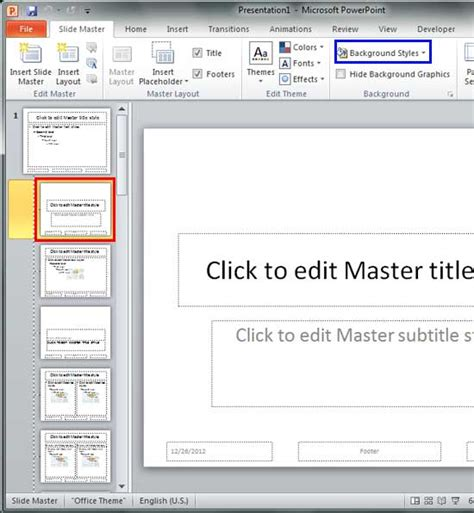 Change Background Styles For Slide Layouts In Powerpoint 2010 For Windows Powerpoint 2010 Edit Master Slide